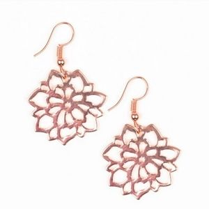 Darling Dahlia Bright Copper Floral Earrings